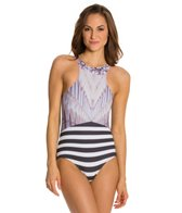 Kingdom & State Digital Coliseum Striped Racer Front One Piece