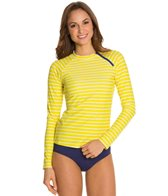 Cabana Life Sunburst Striped Zipper L/S Rashguard