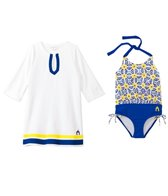 Cabana Life Girls' Sunburst One Piece Swimsuit and Terry Cover Up Set (2T-6yrs)