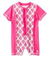 Cabana Life Girls' Pink Emblem Infant Rashguard Onesie (3-24mos)