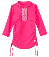 Cabana Life Girls' Embroidered Solid 3/4 Sleeve Rashguard (2T-4T)