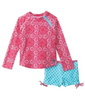 Cabana Life Girls' Fiery Shores 3/4 Sleeve Rashguard Short Set (2T-6yrs)