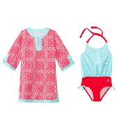 Cabana Life Girls' Fiery Shores One Piece Swimsuit and Swim Dress Set (2T-6yrs)