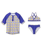 Cabana Life Girls' Sunburst Two Piece Swimsuit and Rashguard Set (7-14yrs)