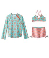 Cabana Life Maldives Two Piece Swimsuit and Rashguard Set (7-14yrs)