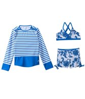 Cabana Life Girls' Porcelain Paisley Two Piece Swimsuit and L/S Rashguard Set (7-14yrs)