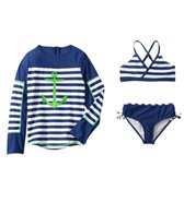 Cabana Life Girls' Cape Mod Two Piece Swimsuit and L/S Rashguard Set (7-14yrs)