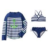 Cabana Life Girls' Cape Mod Two Piece Swimsuit and L/S Rashguard Set (7-14yrs)