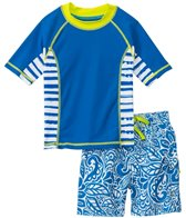 Cabana Life Boys' Tropical Swim Shorts and Rashguard Set (2T-4T)