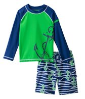 Cabana Life Boys' Anchor Swim Shorts and L/S Rashguard Set (2T-6yrs)