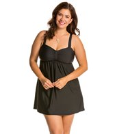 Athena Plus Size Finesse Solids Underwire Swim Dress