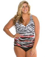Anne Cole Plus Size Zebra Dot Twist Front Underwire Tankini