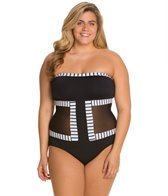 Anne Cole Plus Size Mesh'n Around Faux Mono-kini One Piece