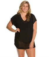 Anne Cole Plus Size Solids Mesh V-Neck Shirred Tee Shirt