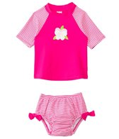 iPlay Girls' Pansy Mod Ultimate Swim Diaper Rashguard Two Piece Set (3mos-3yrs)