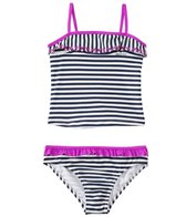 Jessica Simpson Girls' Embroidered Butterflies Stripe Tankini Ruffle Set (4yrs-6x)