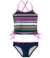 Jessica Simpson Girls' Stripes & Solids Tie Side Tankini Set (4yrs-6x)