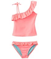 Jessica Simpson Girls' Stripes & Solids Ruffle Tankini Two Piece Set (7yrs-16yrs)