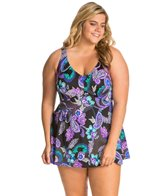 Maxine Plus Size Paisely Swirl Empire Swimdress