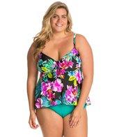 Maxine Plus Size Waikiki Tie Front Tankini Top