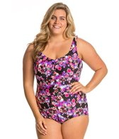 Maxine Plus Size Diamond Diva Shirred Front Girl Leg One Piece