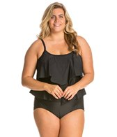 Maxine Plus Size Tricot Solid Tiered One Piece