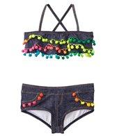 PilyQ Girls' Indigo Pom Pom Ruffle Bikini Set (8yrs-16yrs)