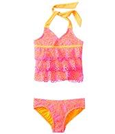Kensie Girl Ibiza Crochet Ruffle Tankini Two Piece Set (4yrs-6X)