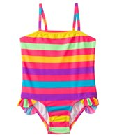 Kensie Girl Rainbow Fever Stripe Ruffle Leg One Piece (4yrs-6X)
