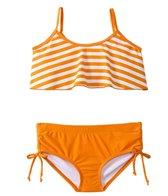 Sunshine Zone Girls' Orange Stripe Flutter Two Piece Set (7yrs-16yrs)