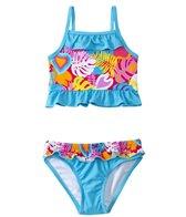 Sunshine Zone Girls' Tropical Love Ruffle Two Piece (4yrs-6X)