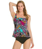 Caribbean Joe Persian Style Pleated Front Underwire Tankini Top
