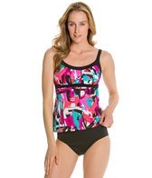 Caribbean Joe Stroke of Luck Framed Peasant Tankini Top