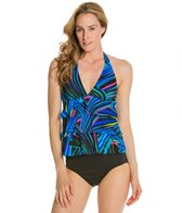 Caribbean Joe Cirque Du CJ Ruffle Layered Halter Tankini Top