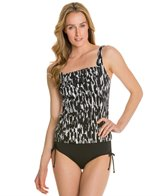 Caribbean Joe Black Gold Pleated Front Underwire Tankini Top