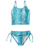 405 South Girls' Shimmery Snake Tankini Two Piece Set (4yrs-6X)