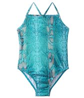405 South Girls' Blue Shimmer Snake Tank One Piece (4yrs-6X)