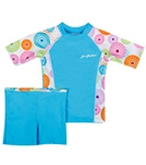 SunBusters Girls' Fitted S/S Rashguard Set (6mos-12yrs)