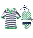 Cabana Life Girls' Cape Mode Two Piece Swimsuit and Terry Cover Up Set (7-14yrs)